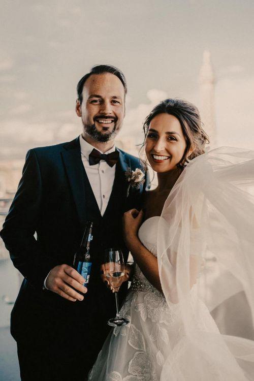 Bride and groom enjoying the view at their Las Vegas wedding