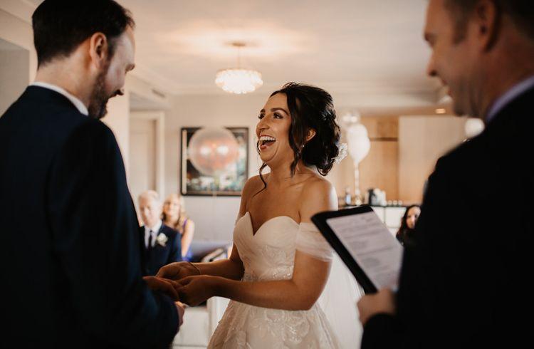 Bride and groom saying 'I do'