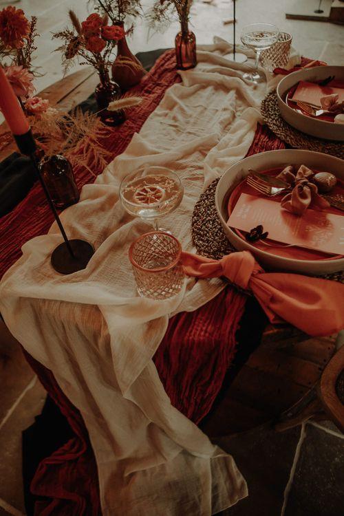 Table decor for orange wedding theme