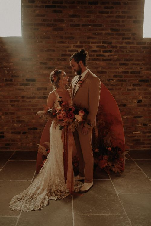 Bride and groom portrait at Oakwood at Ryther by Esme Whiteside Photography
