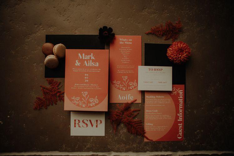 Wedding stationery suite for orange wedding theme