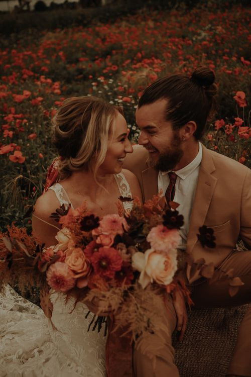 Oversized bridal bouquet with dahlias