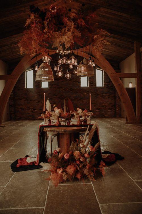 Orange wedding theme decor and flowers