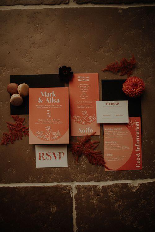 Orange wedding stationery suite by Wonderland Invites