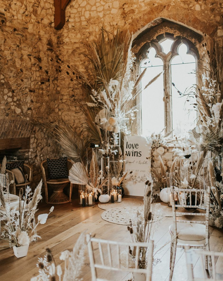 Dried Flowers Wedding Decor at Pentney Abbey