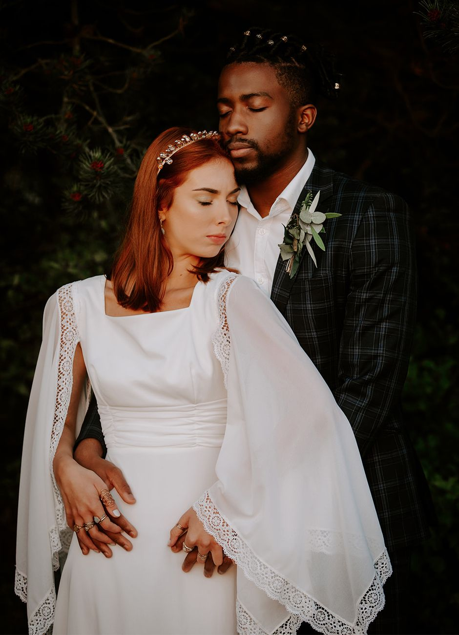 cape sleeve wedding dress